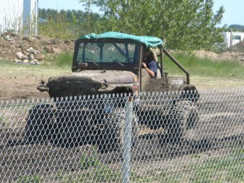 Truck at PIlot Butte's 2012 mud bog drag race event.