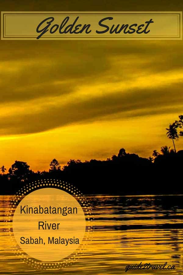 Golden sunset over the Kinabatangan River in Sabah, Malaysia