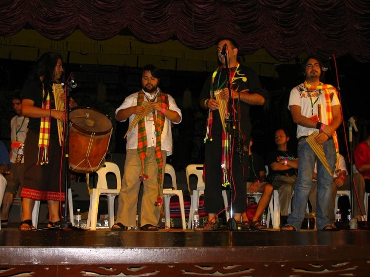 Group giving a music workshop at the Rainforest World Music Festival in Sarawak, Malaysia.