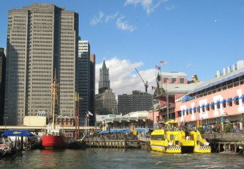 Leaving Pier 17 at the South Street Seaport on a tour to see the Statue of Liberty.