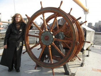 Linda Aksomitis on one of the ships in the South Street Seaport Museum.