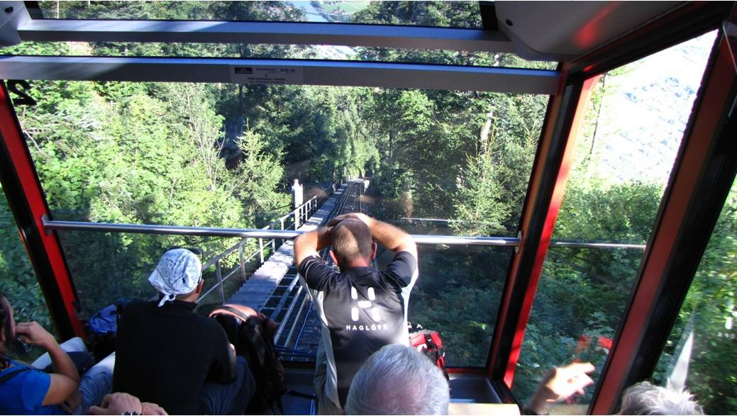 Down the Swiss alps on the Harderbahn funicular.
