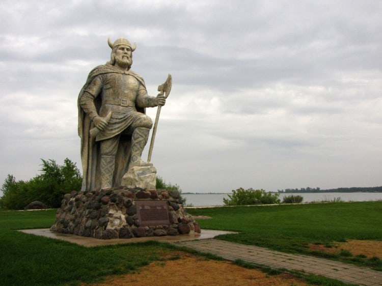 Viking statue in Gimli,Manitioba, celebrating the community's Icelandic heritage.
