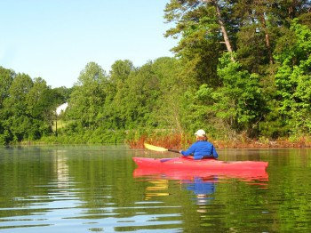 Cheryl Smith paddling on Lake Sidney Lanier outside Atlanta, Georgia.