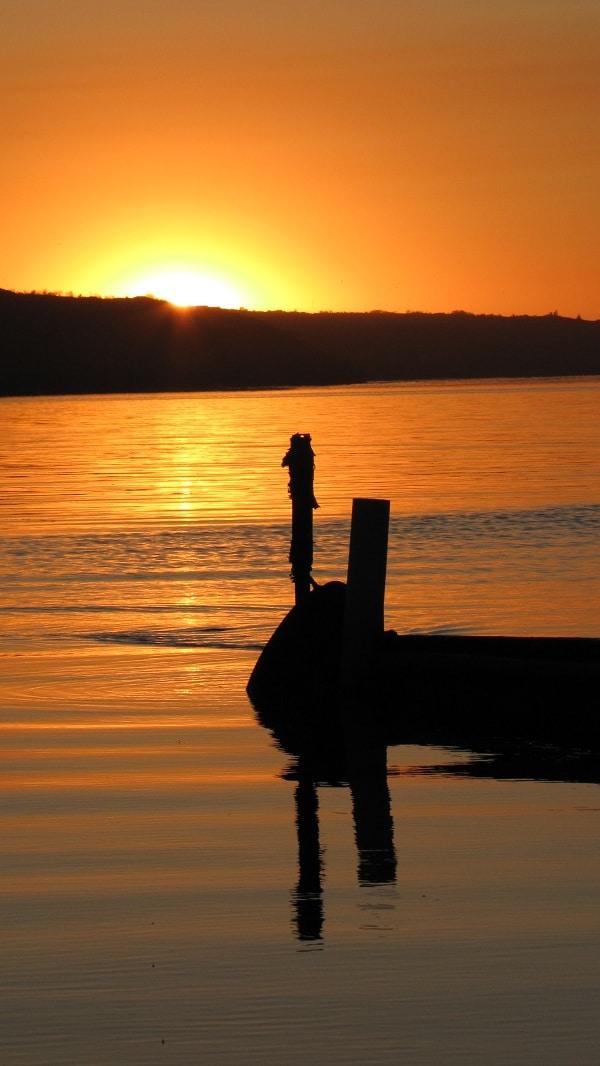 Dock on east side of Mission Lake in Qu'Appelle Valley.