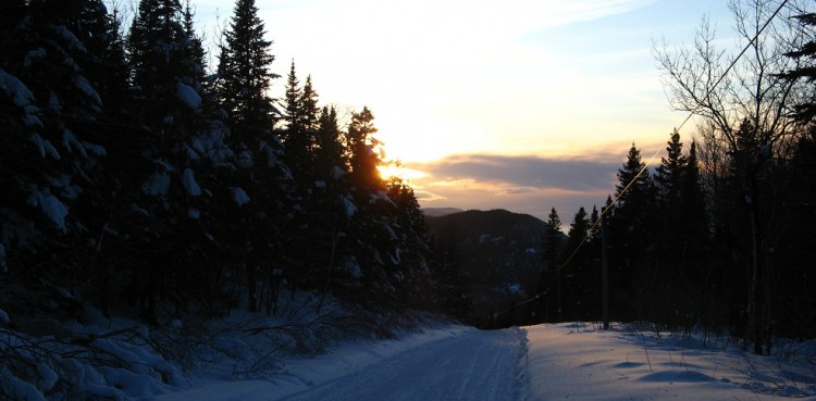 Sunset on the snowmobile trails in Gaspesie, Quebec.