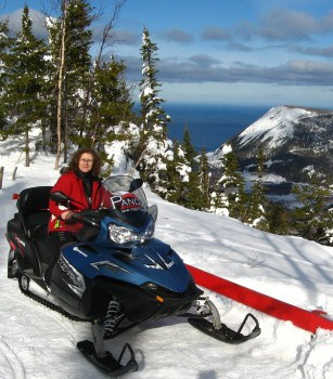 Linda Aksomitis snowmobiling in the Chic-Choc mountains in Quebec.