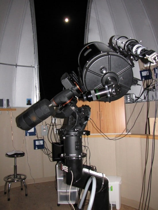 The 14 inch Celestron telescope in the observatory at Cypress Hills Dark Sky Preserve