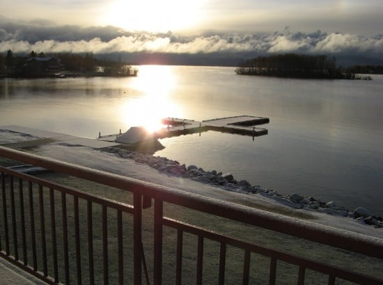 Sunrise over Lac La Ronge at the Harbour Inn in La Ronge - photo from room balcony.