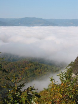 Fog over a valley in the Smoky Mountains.