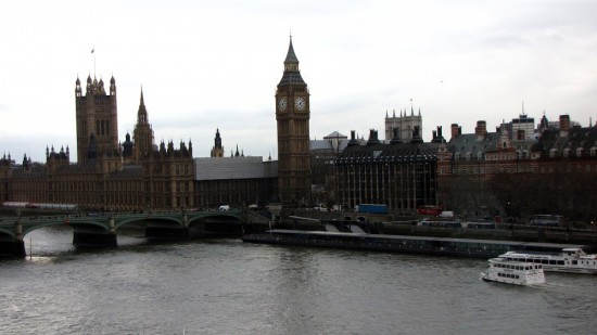 View of Big Ben and Westminster Bridge as the London Eye capsule starts to rise.