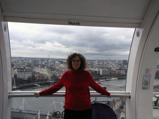 Linda Aksomitis on the London Eye.