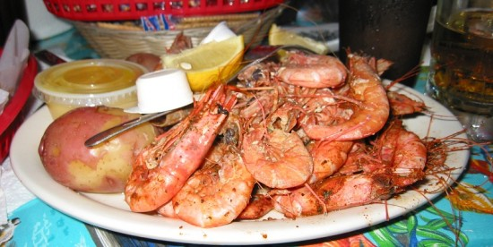 Steamed royal red shrimp at Doc's Seafood Shack and Oyster Bar in Orange Beach, Alabama.