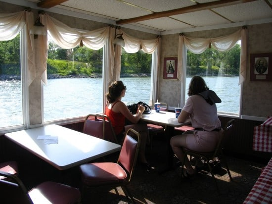 Enjoying the Missouri River from the lower deck of the Lewis & Clark Riverboat.