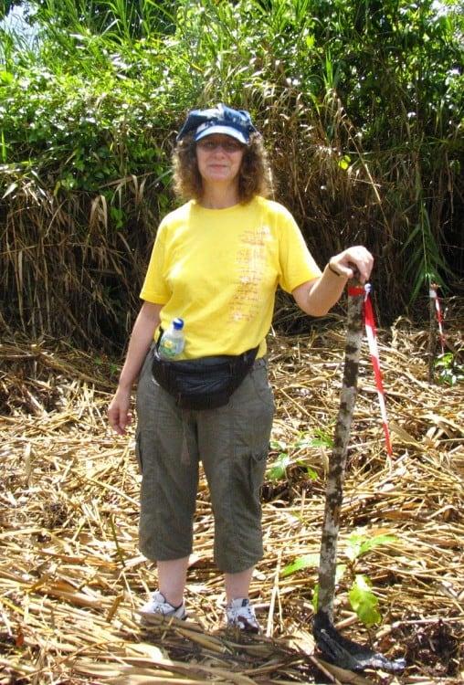 Linda Aksomitis planting a tree in the rainforest.