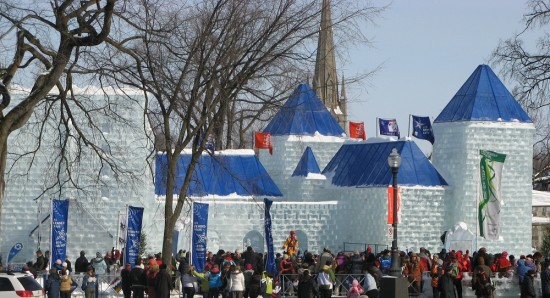Bonhomme's Ice Palace at Quebec Carnival.