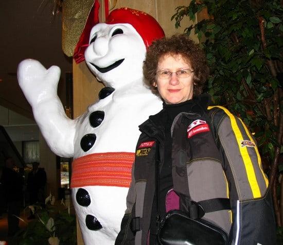 Quebec Carnival's Bonhomme with Linda Aksomitis.