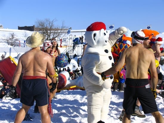 The Snow Bath event at Quebec Carnival.