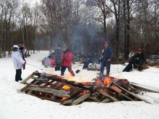 Winter wiener roast at the Scheidt Farm at Qu'Appelle, SK.
