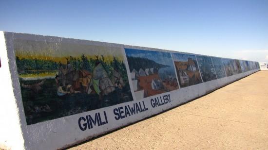 Gimli Seawall Gallery on shores of Lake Winnipeg.