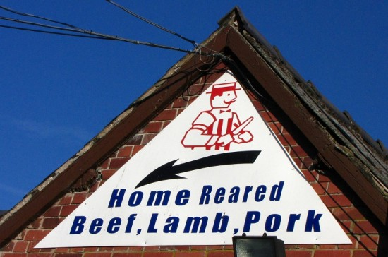 Welsh Sign for Home Reared Beef, Lamb, and Pork