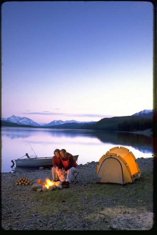 Camping at Rock Lake in Alberta.
