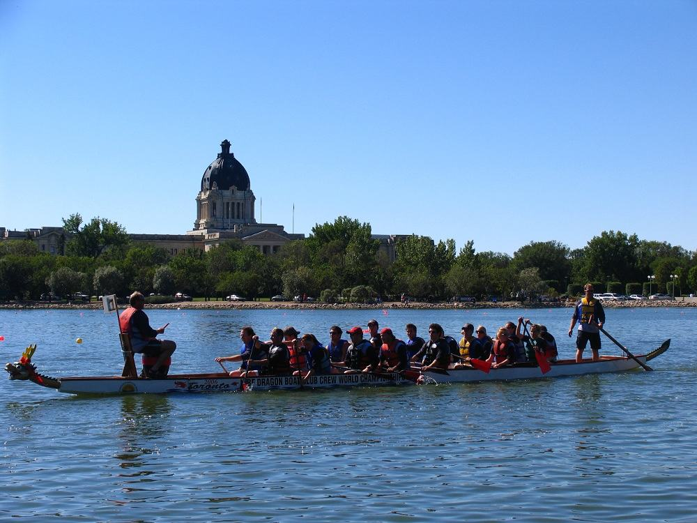 Dragon Boat Races in Regina, SK on Wascana Lake.