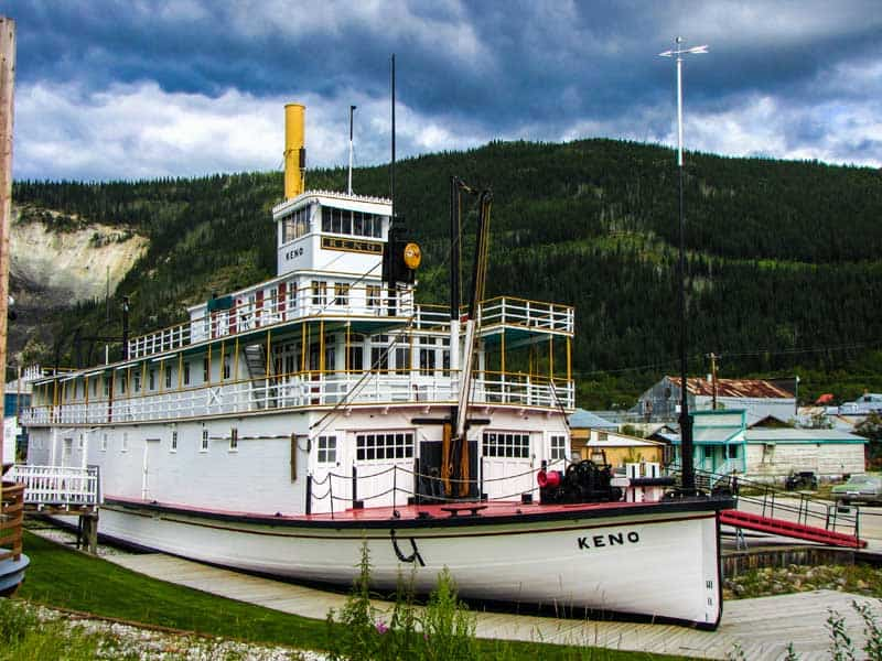 The sternwheeler paddle steamer, SS Keno, in dry dock in Dawson City, Yukon.