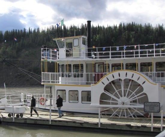 Boarding the Klondike Spirit Paddlewheeler at Dawson City.