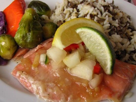 Salmon dinner on the Yukon River Dinner Cruise aboard the Klondike Spirit Paddlewheeler.