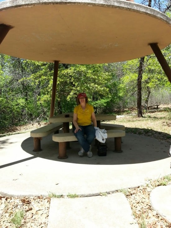 Linda Aksomitis at a rest area in Oklahoma.