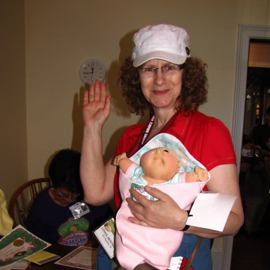 Linda Aksomitis with her new cabbage patch doll.