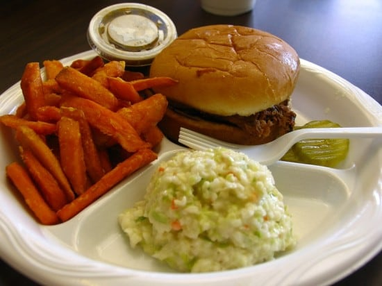 Sweet potato fries and pulled pork