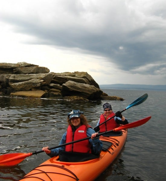 Sea kayaking in Gaspe, Quebec.