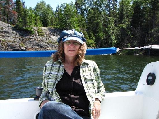 Linda Aksomitis on the sailboat