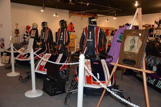 Feature display of Polaris snowmobiles at the Snowmobile Hall of Fame and Museum.
