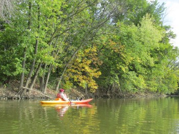 Kayaking on St. Mary River in Fort Wayne, Indiana.