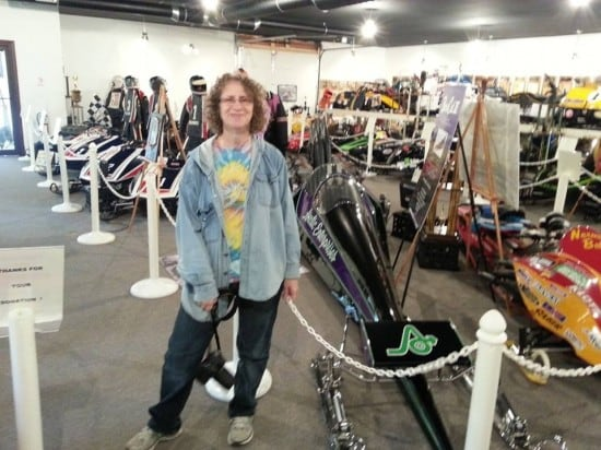 Linda Aksomitis at the Snowmobile Hall of Fame and Museum.