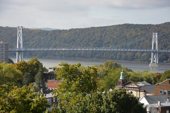 View of Poughkeepsie's traffic bridge over the Hudson River.