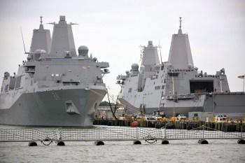 Ships at Norfolk Naval Base.