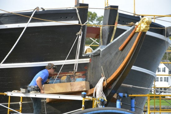 Work being done to the Charles W. Morgan whaling ship.