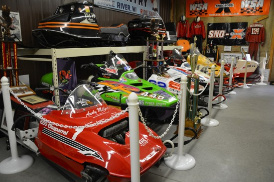 Snowmobiles at the Snowmobile Hall of Fame and Museum