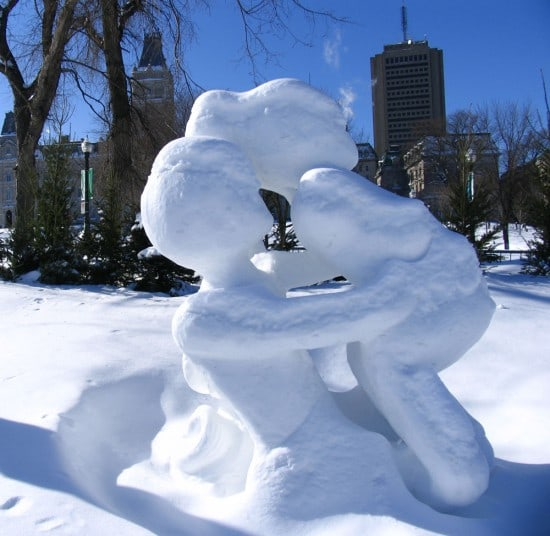 Snow sculpture at Quebec Winter Carnival.