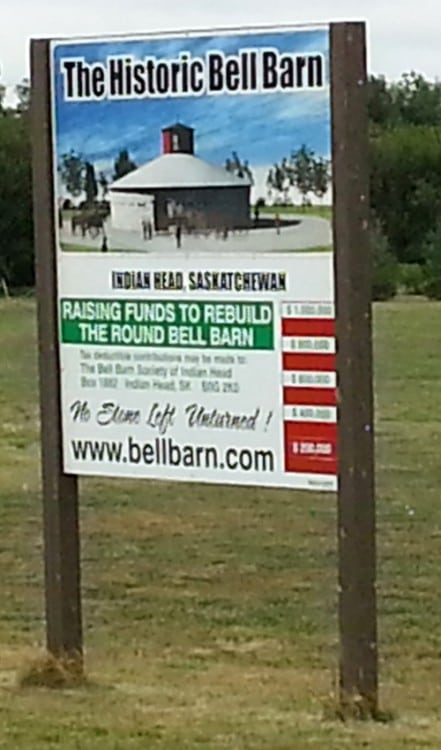 Sign for the Bell Barn at Indian Head, SK.