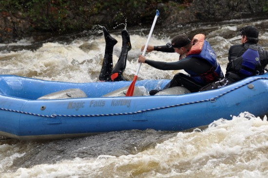 Whitewater rafter overboard!