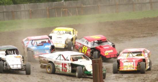Car racing at Estevan Motor Speedway.