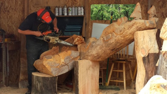 Chain saw carving.