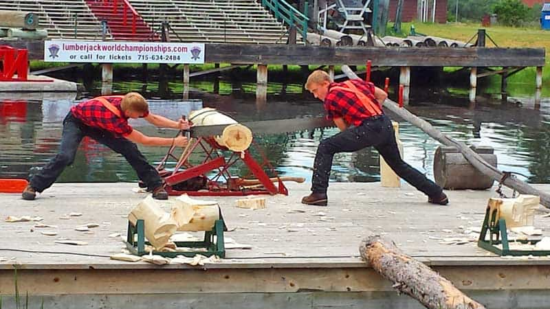 Bucksaw event at Fred Scheer's Lumberjack Show in Hayward, Wisconsin.
