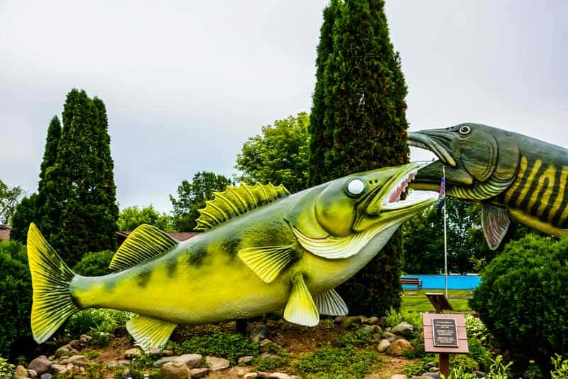 Giant fish at the Fishing Hall of Fame in Wisconsin.