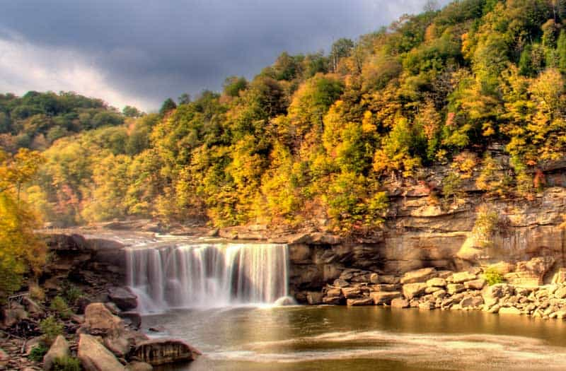 Cumberland Falls, Kentucky, in the fall.